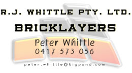 Sponsor – RJ Whittle Bricklayers – 0417 573 056